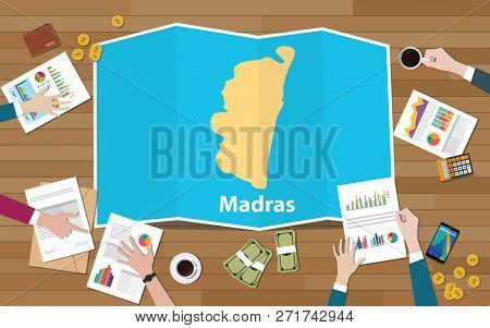 Madras Chennai India City Region Economy Growth With Team Discuss On Fold Maps View From Top Vector