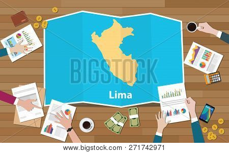 Lima Peru Capital City Region Economy Growth With Team Discuss On Fold Maps View From Top Vector Ill
