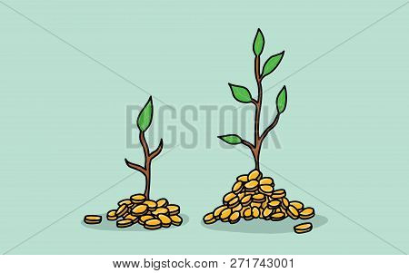 Tree Invest Investment With Gold Coin Money And Growing Growth Illustration With Green Leaf Vector I