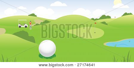 vector illustration of a golf course scene showing golfer, cart, course, green and water hazard
