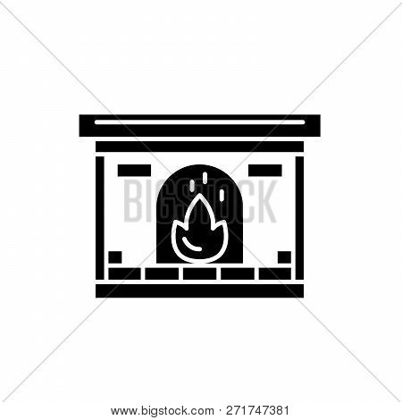 Fireplace Black Icon, Vector Sign On Isolated Background. Fireplace Concept Symbol, Illustration