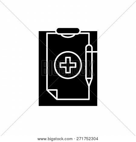 Medical Diagnosis Black Icon, Vector Sign On Isolated Background. Medical Diagnosis Concept Symbol,
