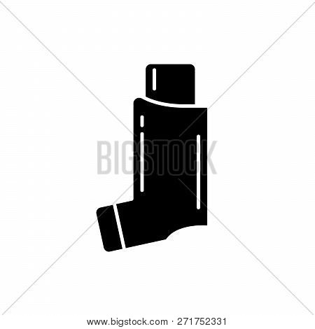 Bronchial Asthma Black Icon, Vector Sign On Isolated Background. Bronchial Asthma Concept Symbol, Il