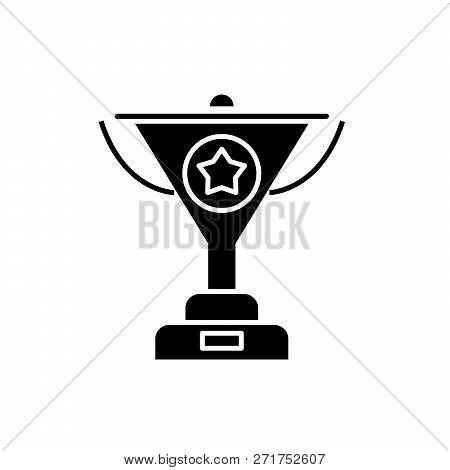 Successful Achievement Black Icon, Vector Sign On Isolated Background. Successful Achievement Concep