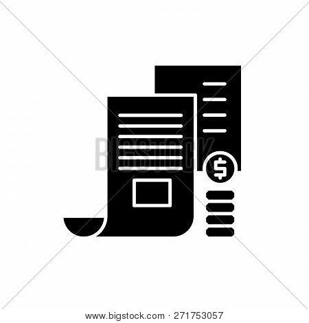 Investor Memorandum Black Icon, Vector Sign On Isolated Background. Investor Memorandum Concept Symb