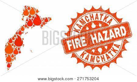 Fire Hazard Collage Of Map Of Kamchatka Peninsula Burning And Dirty Seal. Map Of Kamchatka Peninsula
