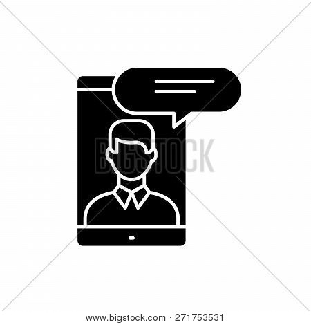 Mobile Conversation Black Icon, Vector Sign On Isolated Background. Mobile Conversation Concept Symb