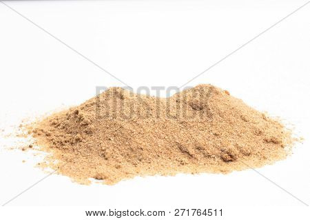 Sand On White Background. Grain Of Sand