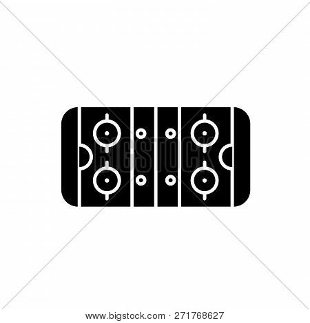 Table Soccer Black Icon, Vector Sign On Isolated Background. Table Soccer Concept Symbol, Illustrati