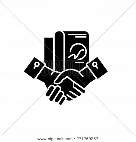 Business Partnership Black Icon, Vector Sign On Isolated Background. Business Partnership Concept Sy