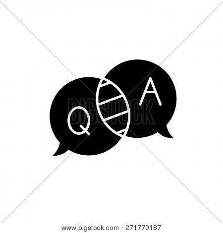 Questions And Answers Black Icon, Vector Sign On Isolated Background. Questions And Answers Concept
