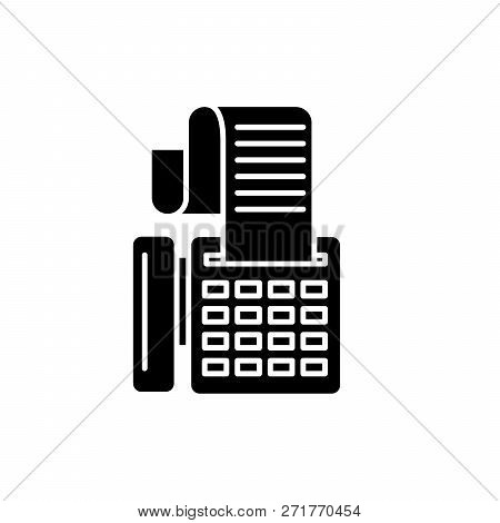 Cash Machine Black Icon, Vector Sign On Isolated Background. Cash Machine Concept Symbol, Illustrati