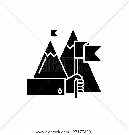 Ambitious Goals Black Icon, Vector Sign On Isolated Background. Ambitious Goals Concept Symbol, Illu