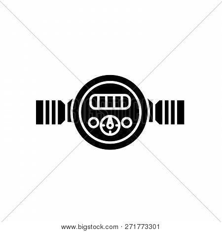Pressure Meter Black Icon, Vector Sign On Isolated Background. Pressure Meter Concept Symbol, Illust