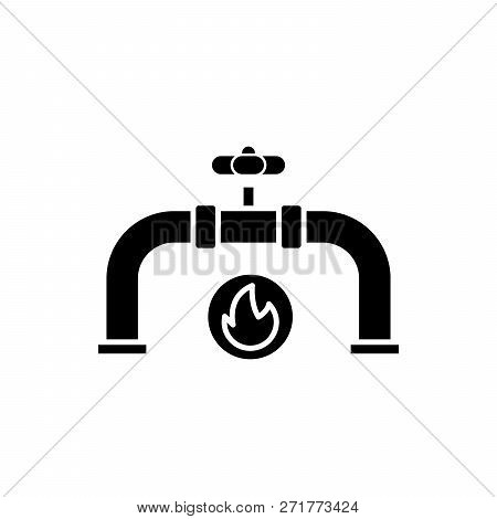 Gas Pipeline Black Icon, Vector Sign On Isolated Background. Gas Pipeline Concept Symbol, Illustrati