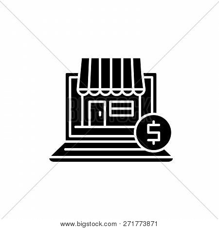 Online Commerce Black Icon, Vector Sign On Isolated Background. Online Commerce Concept Symbol, Illu