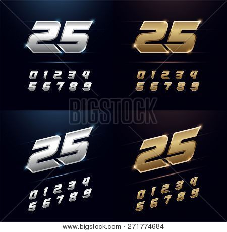 Numbers Silver And Golden Metal Chrome Alphabet Font. Number Typography Sport Modern Style Gold Font