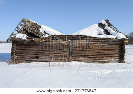 Old abandoned wooden barn with broken roof. Outskirts of a small village, winter time. Vladimir region, Russia. poster