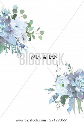 Dusty Blue And White Flowers, Ranunculus, Anemone, Eucalyptus, Juniper, Echeveria Succulent Vector D