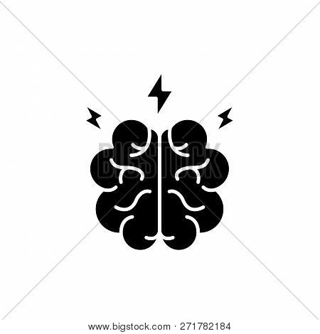 Brainstorm Black Icon, Vector Sign On Isolated Background. Brainstorm Concept Symbol, Illustration