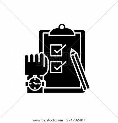 Exams Black Icon, Vector Sign On Isolated Background. Exams Concept Symbol, Illustration