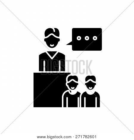 Seminar Black Icon, Vector Sign On Isolated Background. Seminar Concept Symbol, Illustration