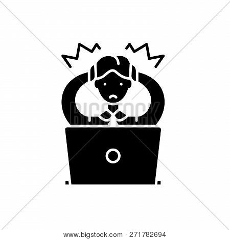 Wrong Decision Black Icon, Vector Sign On Isolated Background. Wrong Decision Concept Symbol, Illust