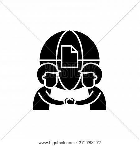 International Partnership Black Icon, Vector Sign On Isolated Background. International Partnership