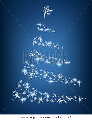 Abstract Christmas Tree Of Snowflakes And Sparks On A Blue Background - Vector