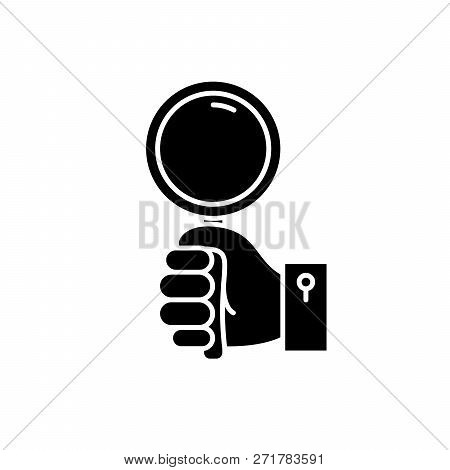 Hand With Magnifier Black Icon, Vector Sign On Isolated Background. Hand With Magnifier Concept Symb