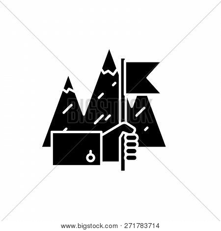 Business Achievement Black Icon, Vector Sign On Isolated Background. Business Achievement Concept Sy