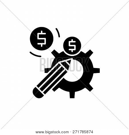 Profitable Solution Black Icon, Vector Sign On Isolated Background. Profitable Solution Concept Symb