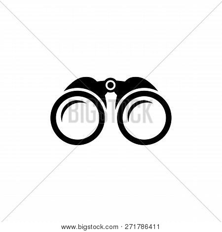 Binoculars Icon In Black. Simple Zoom Symbol In Flat Style Isolated On White Background. Simple Bino