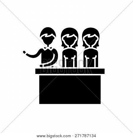 Jury trial black icon, vector sign on isolated background. Jury trial concept symbol, illustration poster