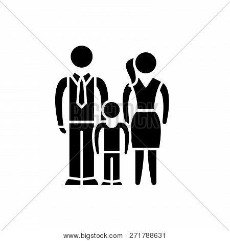 European Family Black Icon, Vector Sign On Isolated Background. European Family Concept Symbol, Illu