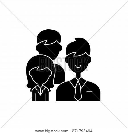 Group Leadership Black Icon, Vector Sign On Isolated Background. Group Leadership Concept Symbol, Il