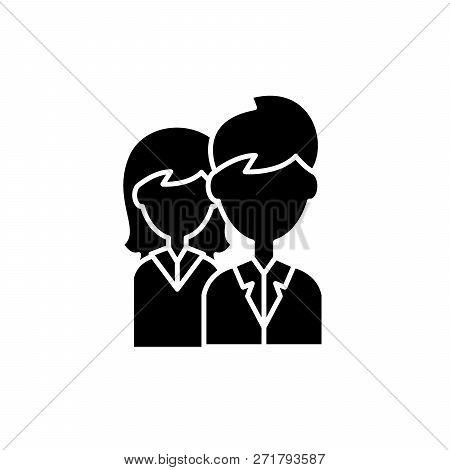 Company Staff Black Icon, Vector Sign On Isolated Background. Company Staff Concept Symbol, Illustra