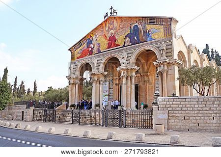 Jerusalem, Israel - September 20, 2017: Church Of All Nations Also Known As The Basilica Of The Agon