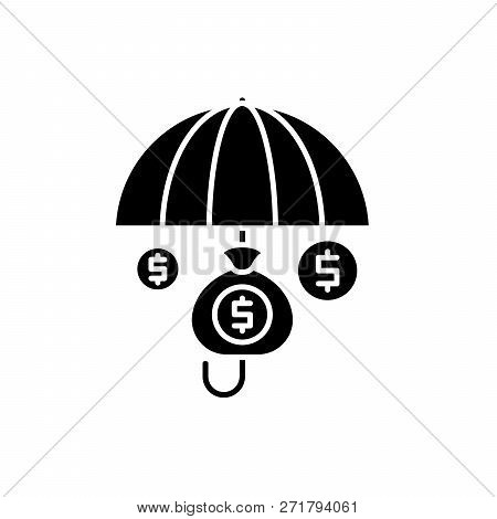 Financial Insurance Black Icon, Vector Sign On Isolated Background. Financial Insurance Concept Symb