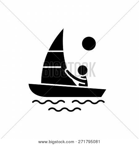 Yachting Black Icon, Vector Sign On Isolated Background. Yachting Concept Symbol, Illustration