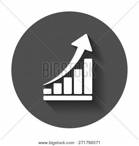 Growth Chart Icon. Grow Diagram Flat Vector Illustration. Busine