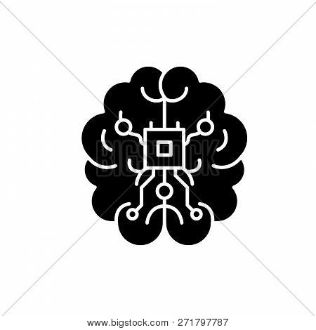 Brain Chipset Black Icon, Vector Sign On Isolated Background. Brain Chipset Concept Symbol, Illustra