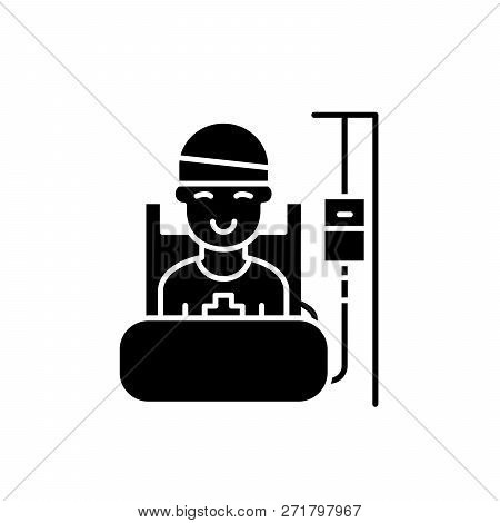 Postoperative Period Black Icon, Vector Sign On Isolated Background. Postoperative Period Concept Sy