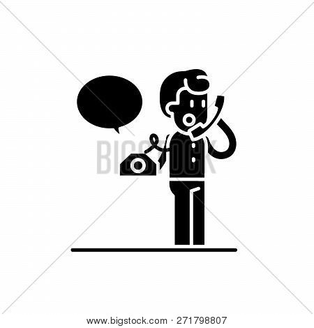 Negotiations On The Phone Black Icon, Vector Sign On Isolated Background. Negotiations On The Phone