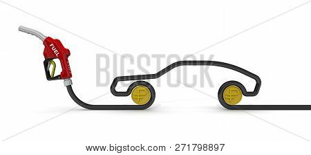 The Costs Of Car Fuel (russian Ruble). Car Fuel Nozzle, The Hose In The Form Of The Car Symbol And C