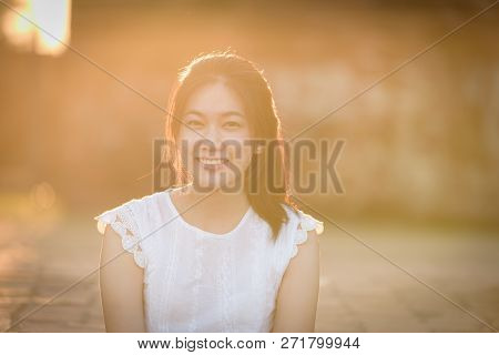 Asian Beautiful Girl Has Travel With Happy And Relaxing At Wat Chaiwatthanaram Temple In Ayuthaya, T