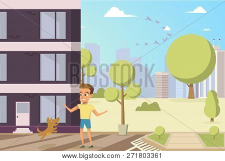 Vector Illustration Cartoon Little Dog And Boy. Concept Image Friendship Man With Animal. Little Boy