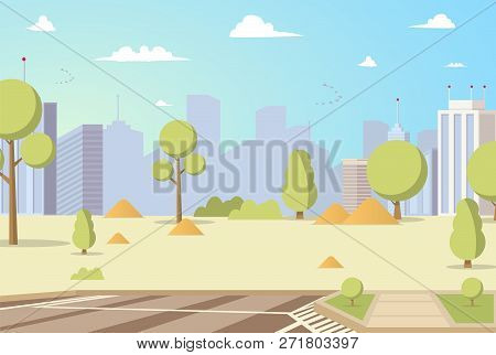 Vector Illustration Cartoon City Park Panoramas. Image Park with Trees on Background Metropolis. Concept placesk for Family Holiday in City. Silhouette Buildings on Background City Park poster