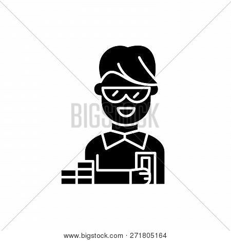 Financier Black Icon, Vector Sign On Isolated Background. Financier Concept Symbol, Illustration