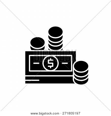 Financial Contributions Black Icon, Vector Sign On Isolated Background. Financial Contributions Conc